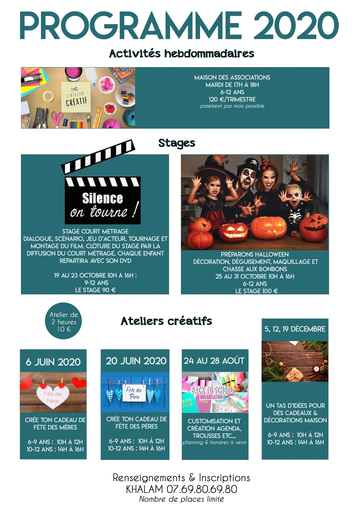 Khalam - Art thérapie - Programme 2020